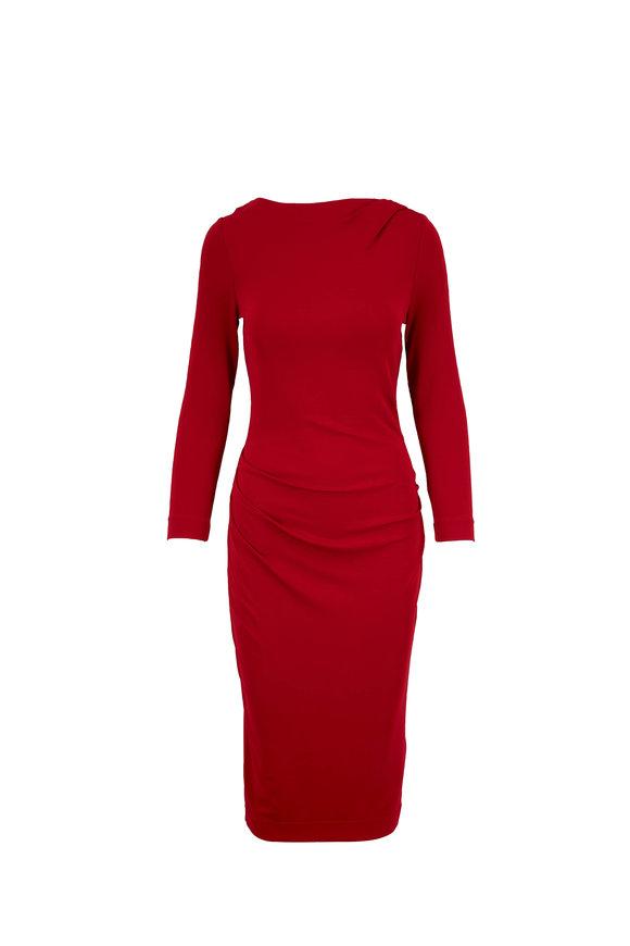 Giorgio Armani Red Crew Neck Long Sleeve Dress