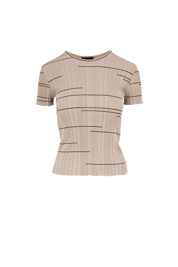 Giorgio Armani Gray Stripe Short Sleeve Sweater