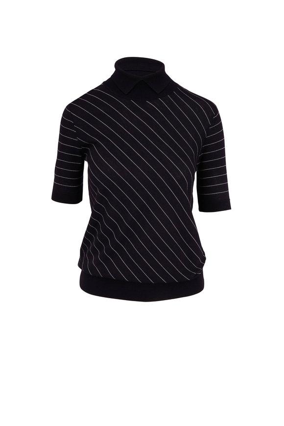Giorgio Armani Navy Wool Diagonal Stripe Short Sleeve Sweater