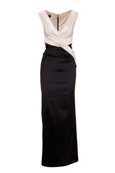 Talbot Runhof - Coco Black & White Satin Sleeveless Gown