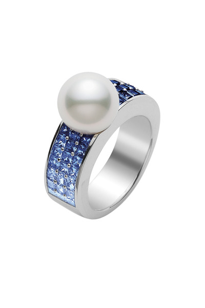 Mikimoto - White Gold Blue Sapphire & South Sea Pearl Ring