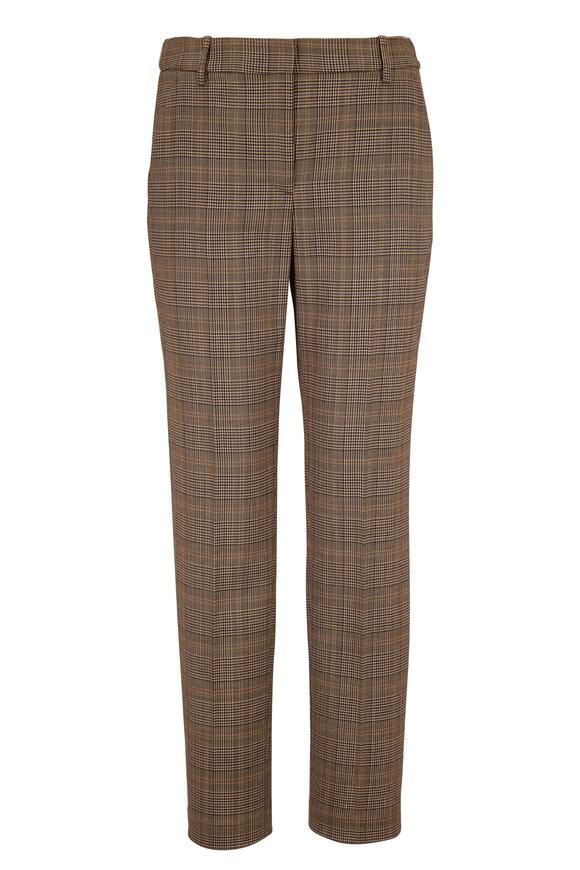 Nili Lotan Colmar Gray Stretch Wool Plaid Pant