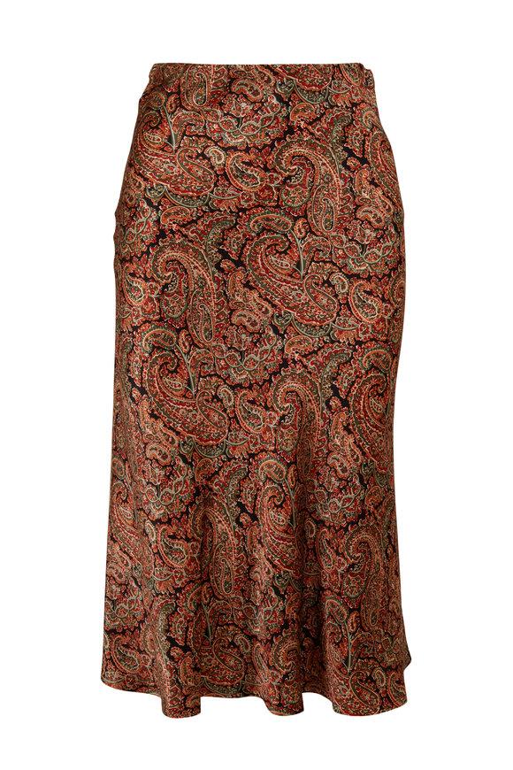 Nili Lotan Leslie Brown Silk Paisley Midi Skirt