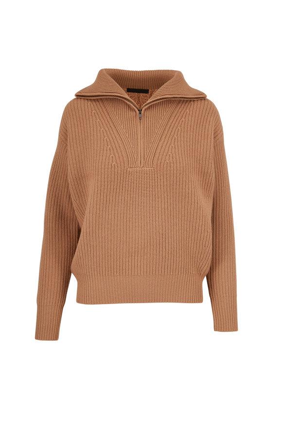Nili Lotan Hester Camel Cashmere Quarter-Zip Sweater