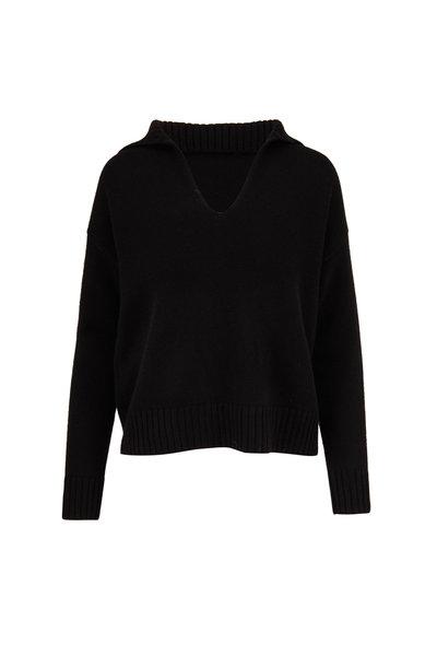Nili Lotan - Julie Black Cashmere Open Neck Sweater