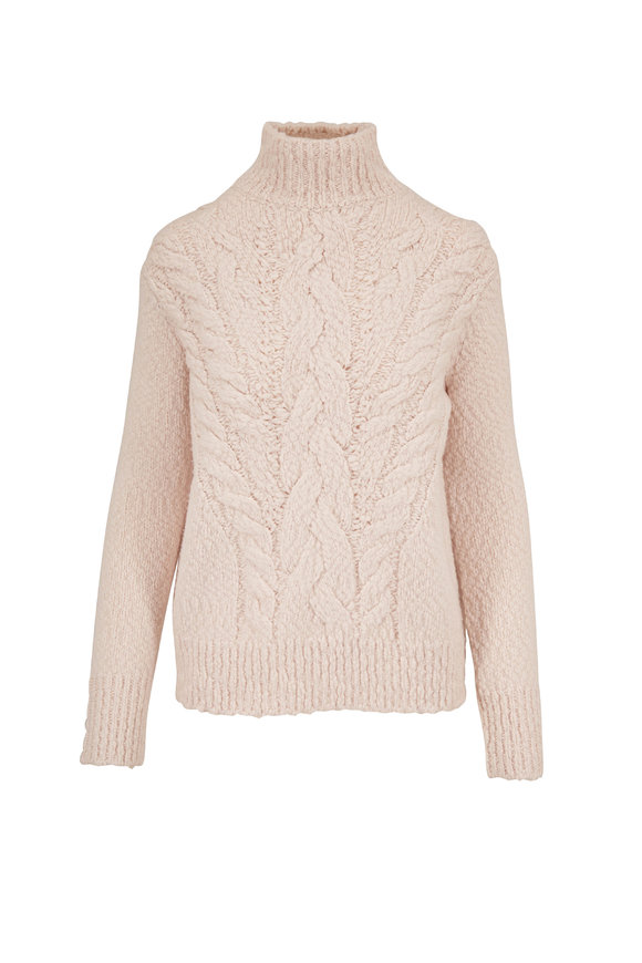 Vince Cream Chunky Textured Turtleneck Sweater