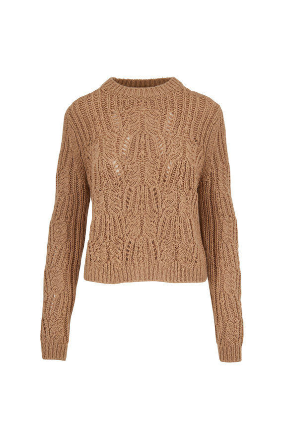 Vince Sawdust Variegated Cable Knit Crewneck Sweater