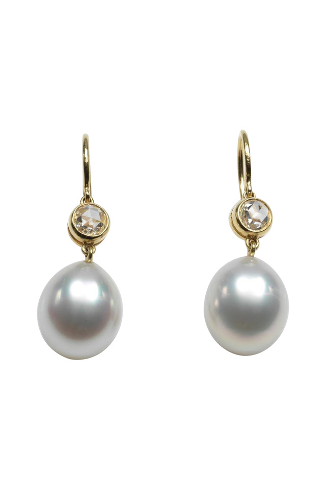 18K Gold & South Sea Pearl & Diamond Drop Earrings