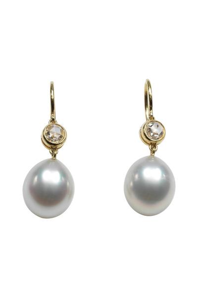 Assael - 18K Gold & South Sea Pearl & Diamond Drop Earrings