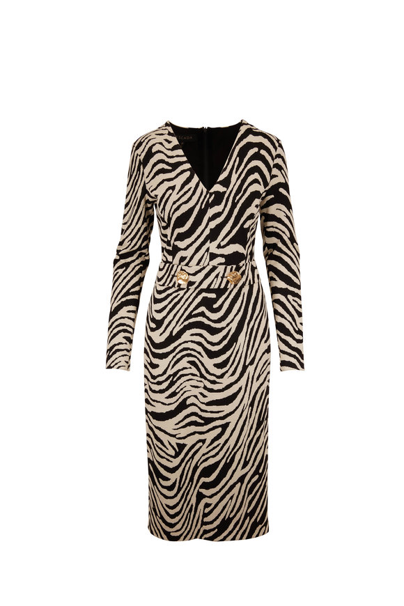 Escada Dorgia Black & White Animal Print Belted Dress