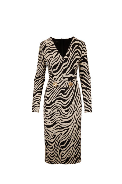 Escada - Dorgia Black & White Animal Print Belted Dress