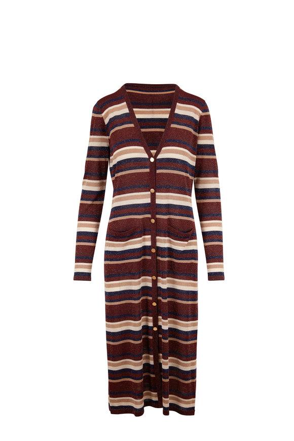 L'Agence Multi Striped Lurex Long Cardigan