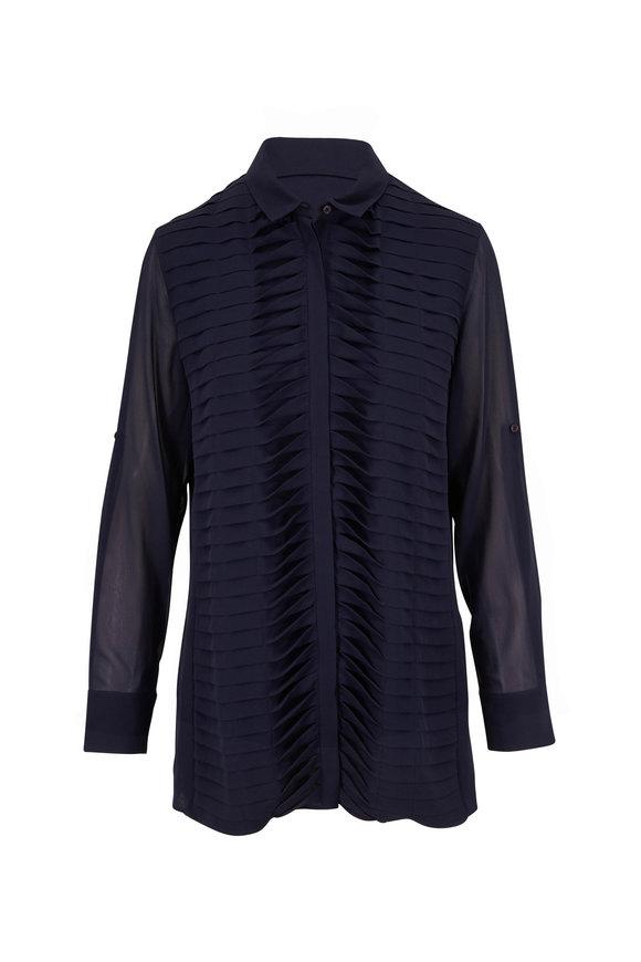 Akris Navy Silk Front Twist Pleat Tunic