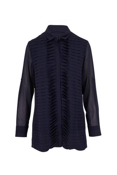 Akris - Navy Silk Front Twist Pleat Tunic