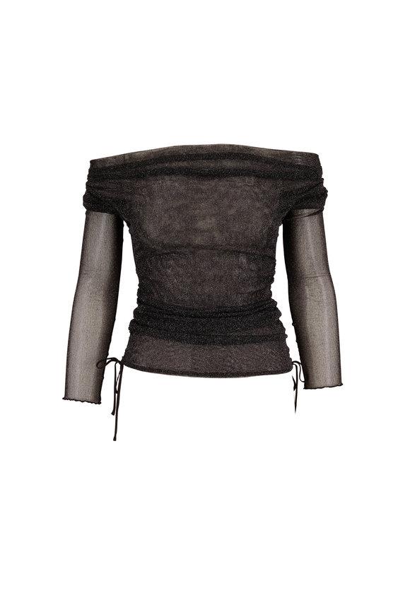 Jonathan Simkhai Black Sheer Shimmer Off-The-Shoulder Top