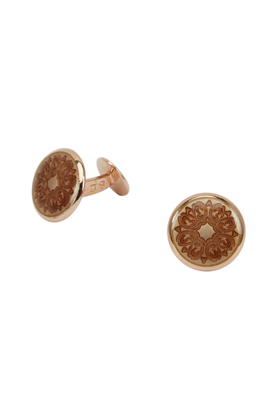 Baade II - Rose Gold & Silver Round Floral Cuff Links