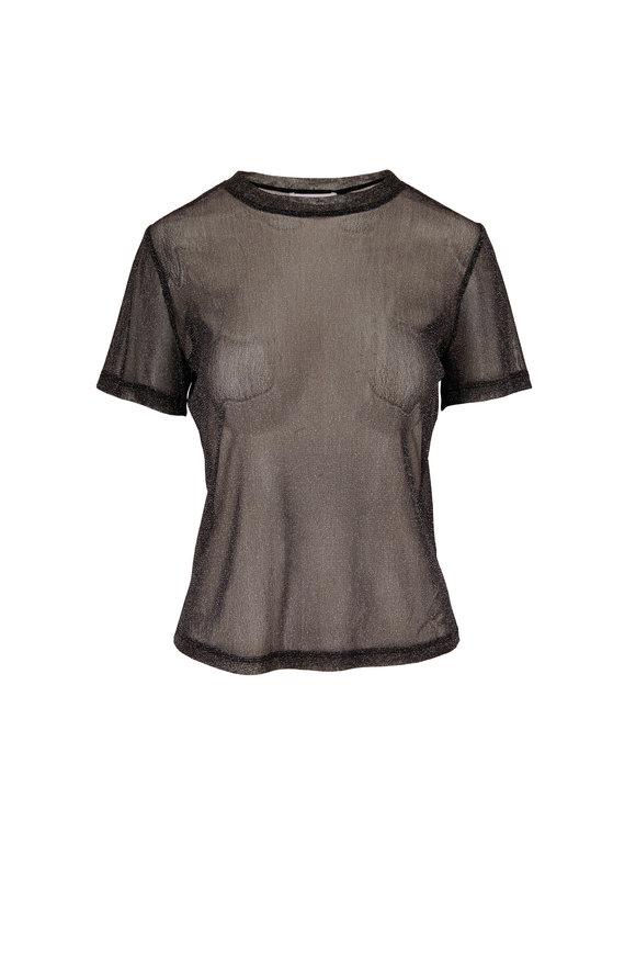 Jonathan Simkhai Black Sheer Shimmer Crewneck T-Shirt