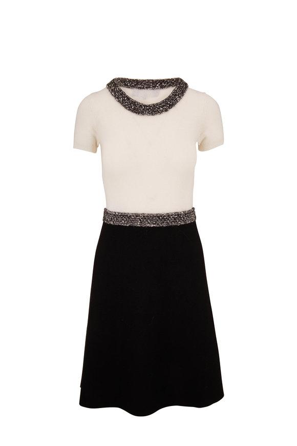Paule Ka Ivory & Black Short Sleeve Knit Dress
