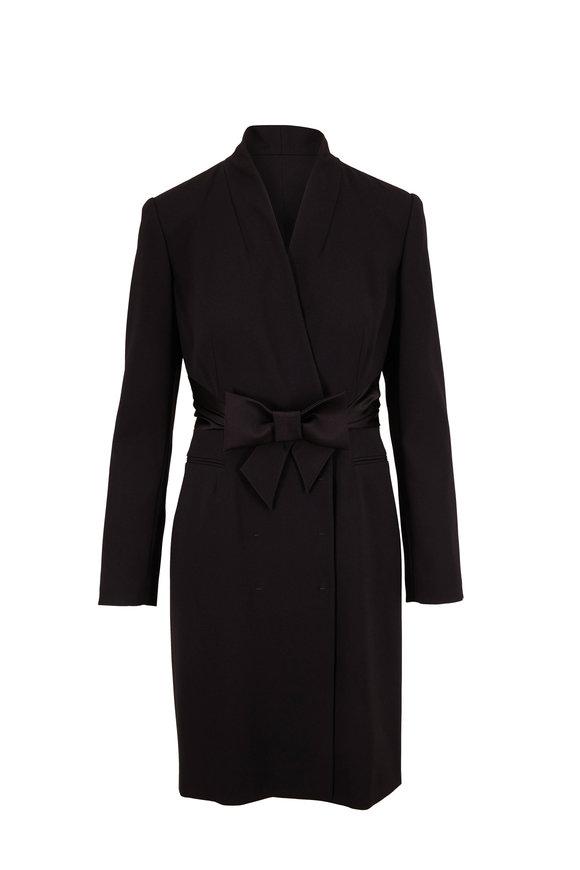 Paule Ka Black Long Sleeve Tuxedo Dress