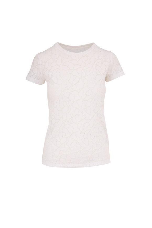 Majestic White Marble Print Crew Neck T-Shirt