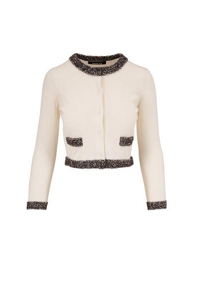 Paule Ka - Ivory Wool & Cashmere Contrast Trim Cardigan