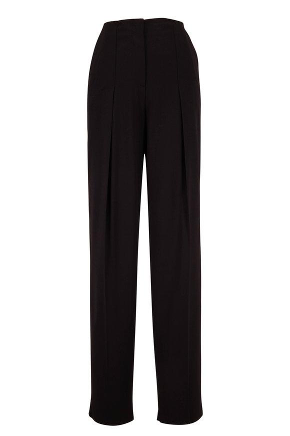 Giorgio Armani Black Stretch Wool Pleated Pant