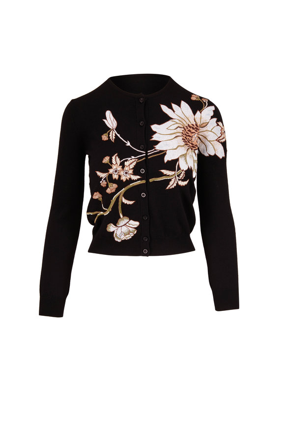 Oscar de la Renta Black Wool Floral Embroidered Cardigan