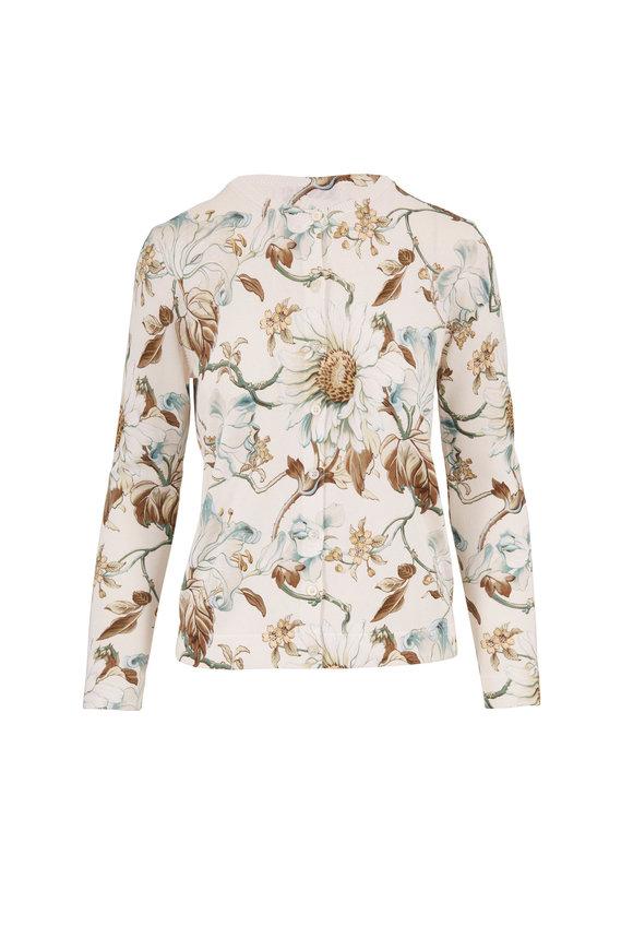Oscar de la Renta Multicolor Floral Print Button Front Cardigan