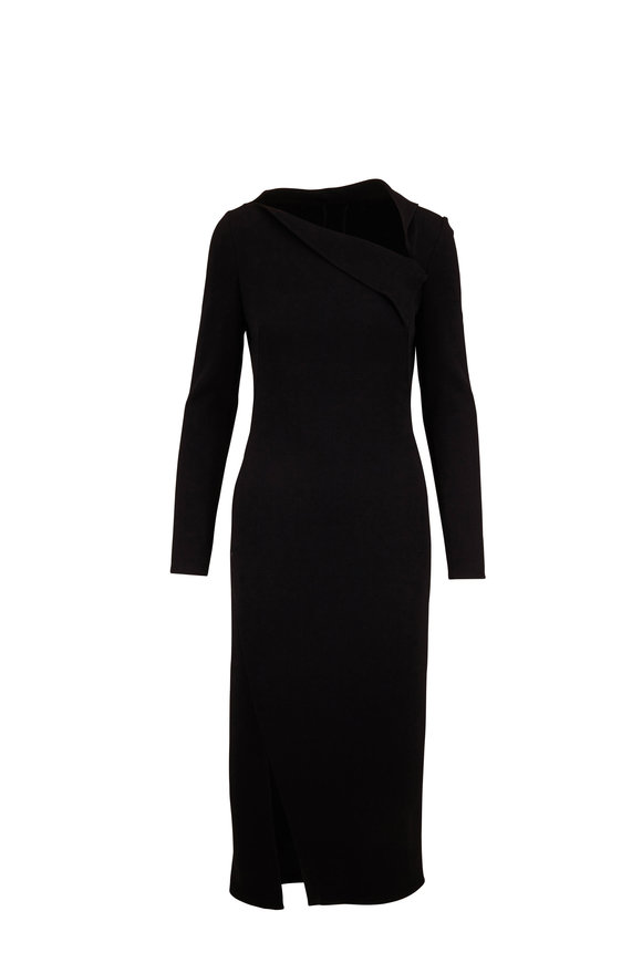 Oscar de la Renta Black Stretch Wool Long Sleeve Midi Dress