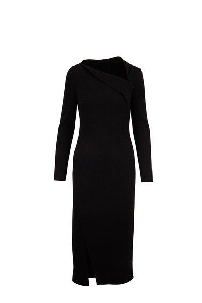 Oscar de la Renta - Black Stretch Wool Long Sleeve Midi Dress