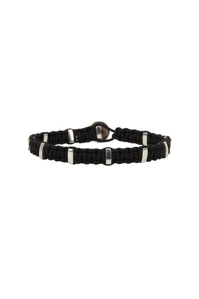 Catherine M. Zadeh - Silver & Black Macramé Braid Bracelet