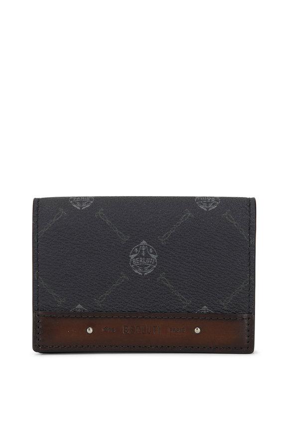 Berluti Imbuia Canvas & Leather Card Holder