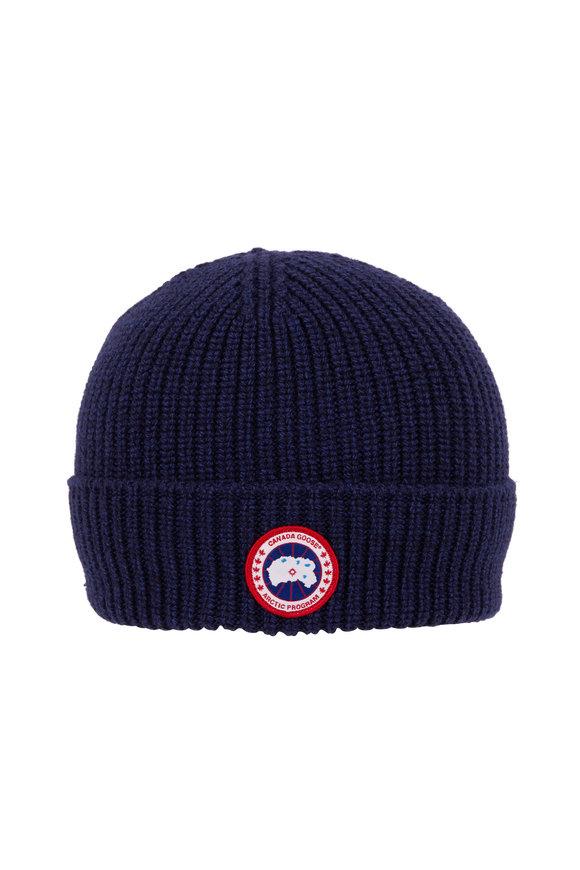 Canada Goose Arctic Navy Wool Disc Rib Beanie