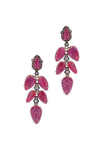 Sylva & Cie - Yellow Gold Diamond & Ruby Leaf Earrings