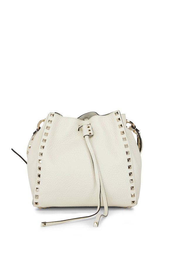 Valentino Garavani Light Ivory Leather Small Bucket Bag