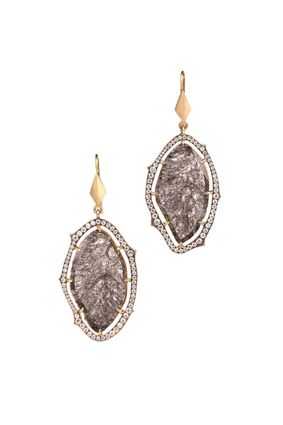 Sylva & Cie - Yellow Gold White & Rough Diamond Dangle Earrings