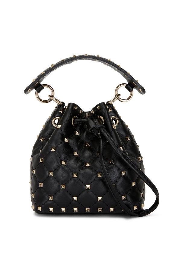 Valentino Garavani Rockstud Black Leather Mini Bucket Bag