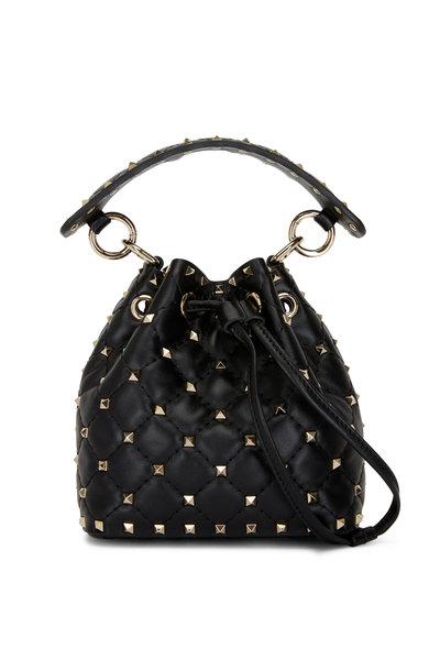 Valentino Garavani - Rockstud Black Leather Mini Bucket Bag