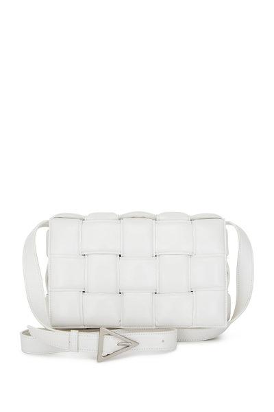 Bottega Veneta - Cassette White Leather Small Crossbody