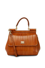 Dolce & Gabbana - Sicily Brown Leather Small Top Handle Bag