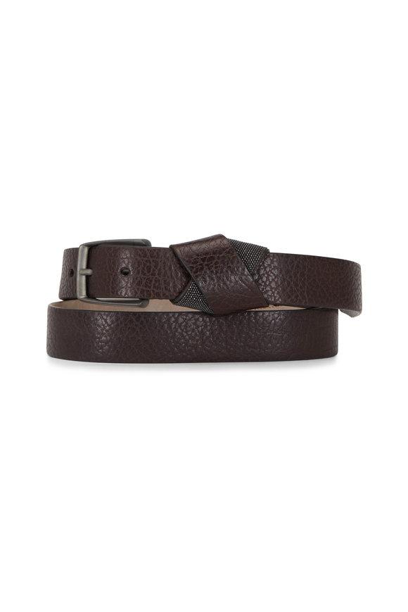 Brunello Cucinelli Coffee Hammered Leather Monili Belt