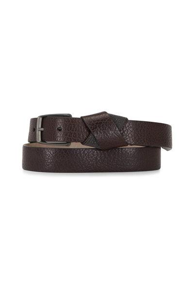 Brunello Cucinelli - Coffee Hammered Leather Monili Belt