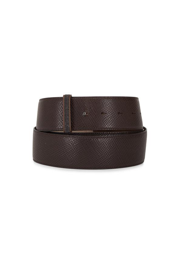 Brunello Cucinelli Chestnut Leather Monili Loop Long Belt