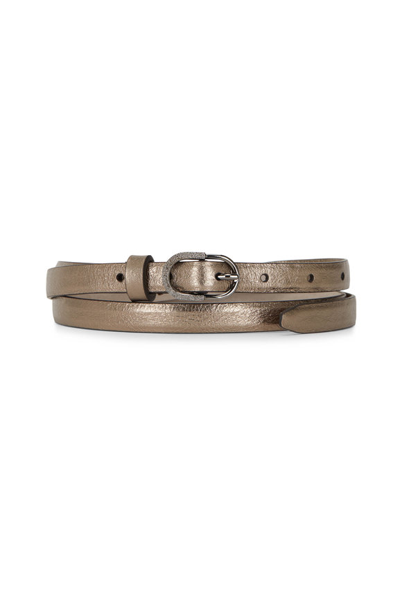 Brunello Cucinelli Gold Metallic Leather Skinny Belt