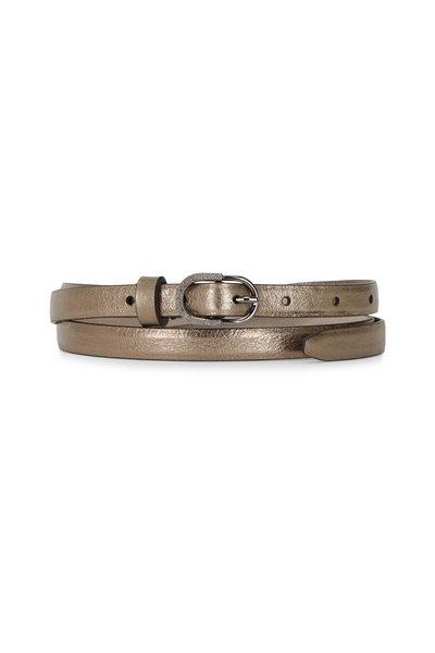 Brunello Cucinelli - Gold Metallic Leather Skinny Belt