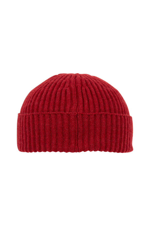 Brunello Cucinelli Red Ribbed Cashmere Beanie