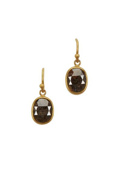 Caroline Ellen - Yellow Gold Charcoal Diamond Dangle Earrings