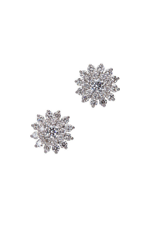 Cairo 18K White Gold Diamond Starburst Earrings