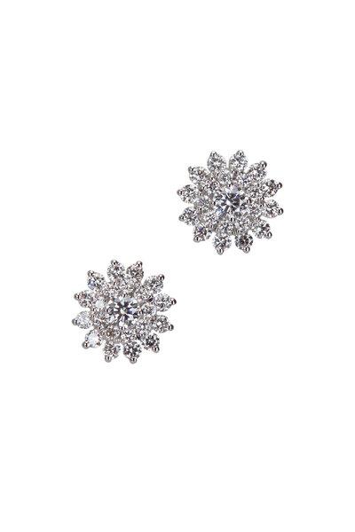 Cairo - 18K White Gold Diamond Starburst Earrings