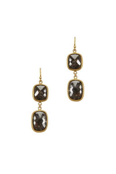 Caroline Ellen - 20K Yellow Gold Gray Diamond Earrings